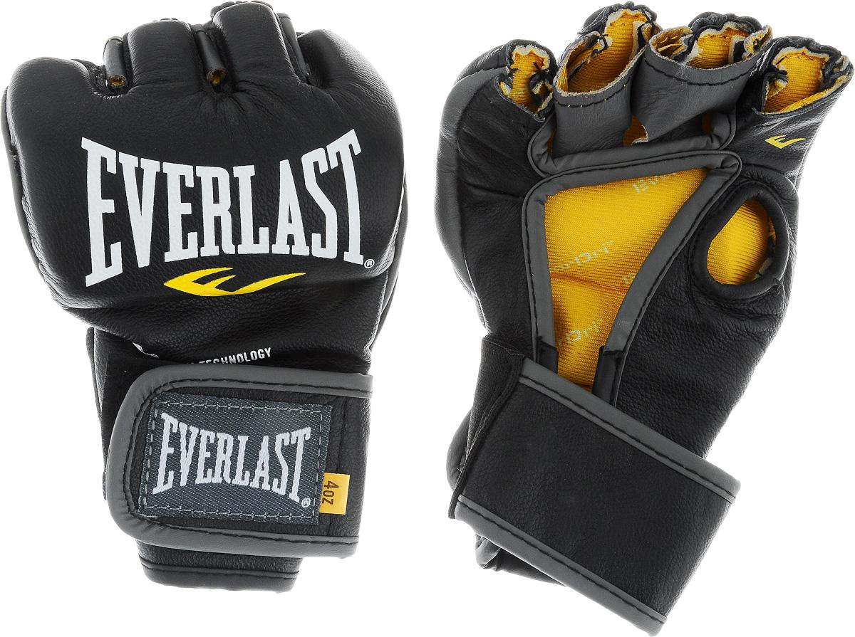 Перчатки боевые Everlast MMA Competition, без пальца цвет: черный, белый, желтый. Размер M