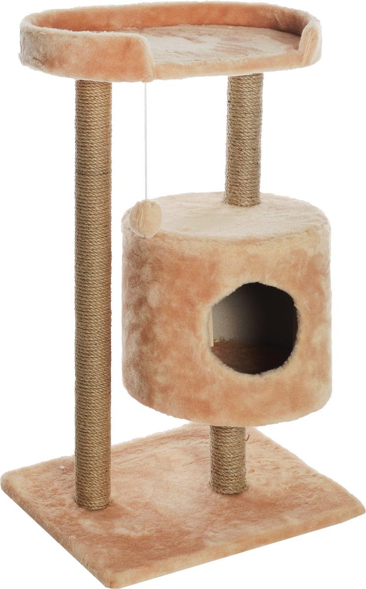 Домик-когтеточка Меридиан, круглый, с площадкой, цвет: светло-коричневый, бежевый, 52 х 52 х 105 см домик когтеточка меридиан круглый с площадкой цвет белый черный бежевый 52 х 52 х 105 см
