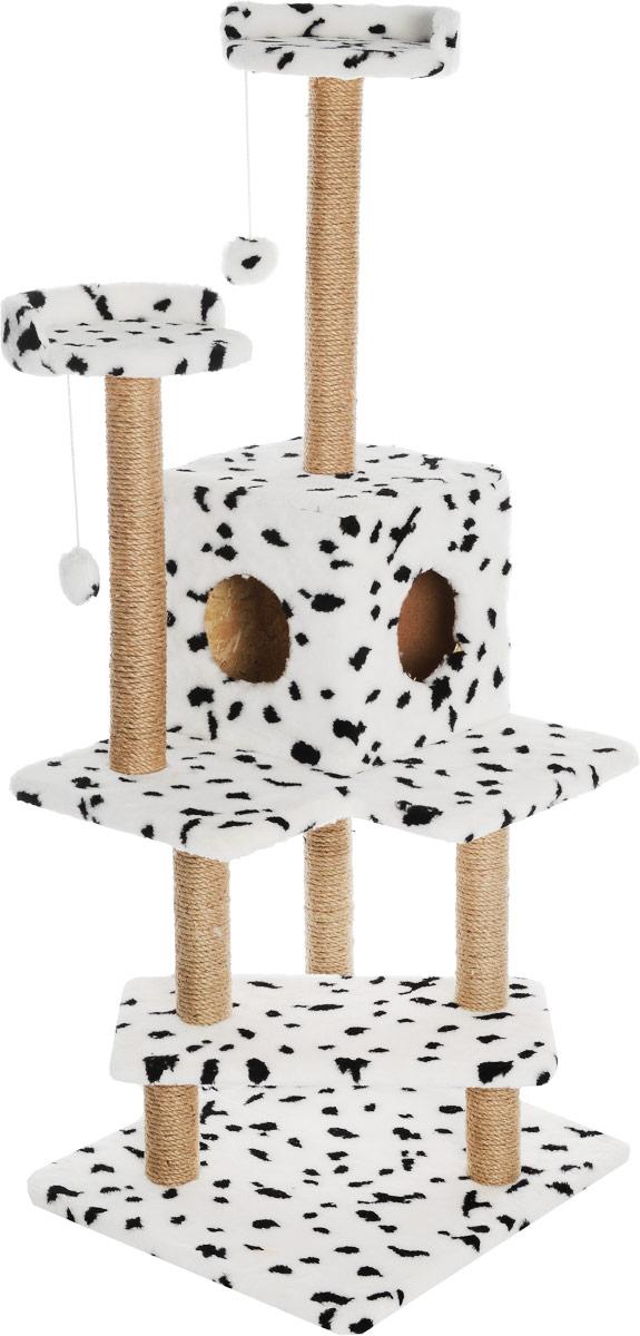 Игровой комплекс для кошек Меридиан Лестница, цвет: белый, черный, бежевый, 56 х 50 х 142 см игровой комплекс для кошек меридиан с двумя полками цвет белый черный бежевый 68 х 39 х 104 см