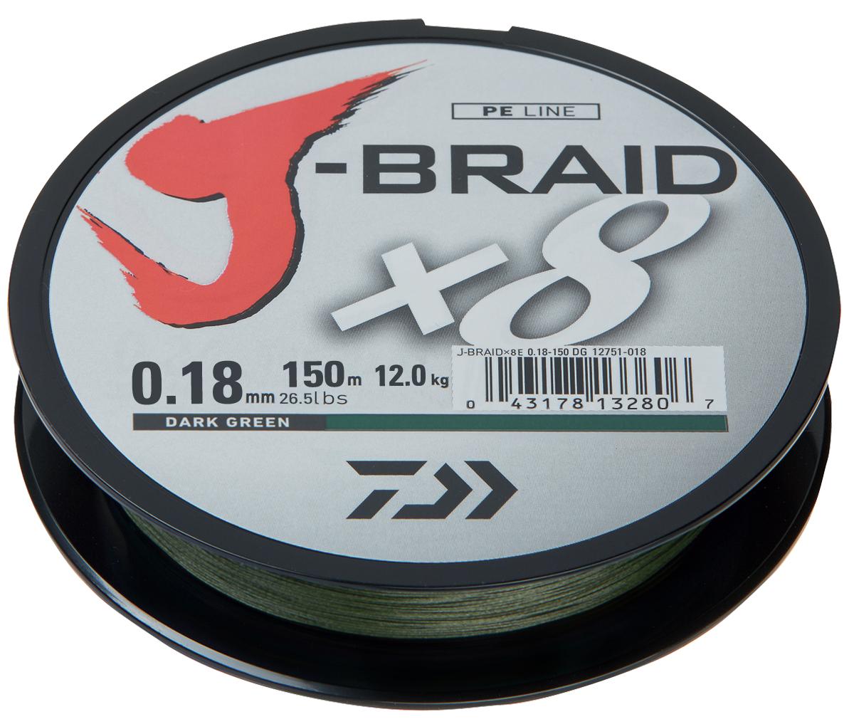 Фото - Шнур плетеный Daiwa J-Braid X8, цвет: зеленый, 150 м, 0,18 мм шнур плетеный daiwa j braid x8 цвет мультиколор 150 м 0 16 мм