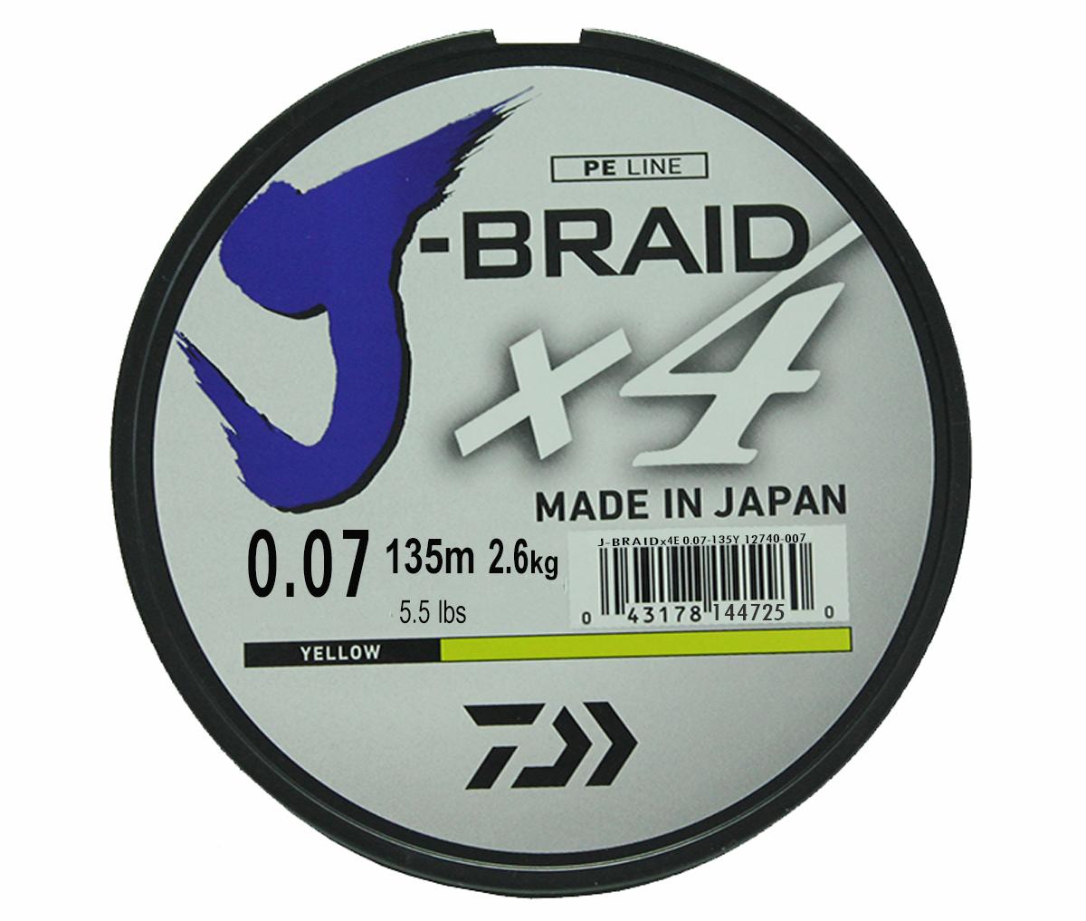 Шнур плетеный Daiwa J-Braid X4, цвет: флуоресцентный желтый, 135 м, 0,07 мм