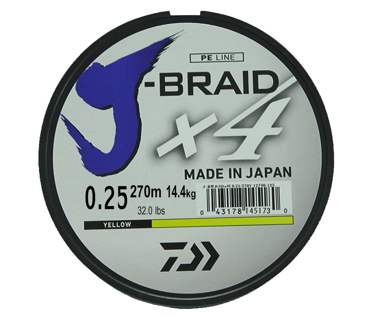 Леска плетеная Daiwa J-Braid X4, цвет: флуоресцентный желтый, 270 м, 0,25 мм леска плетеная daiwa regal sensor цвет желтый 0 42 мм 150 м