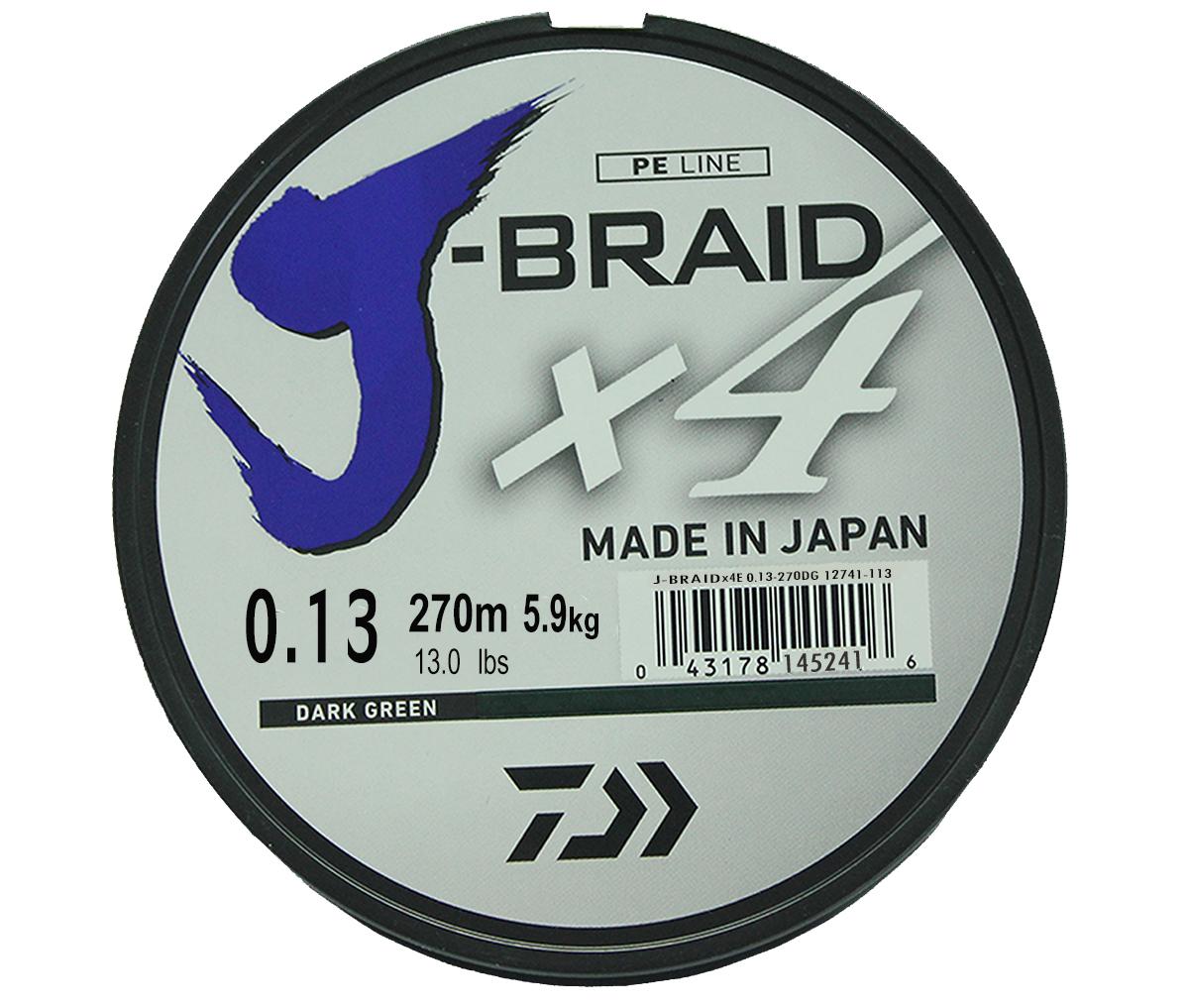 Леска плетеная Daiwa J-Braid X4, цвет: зеленый, 270 м, 0,13 мм