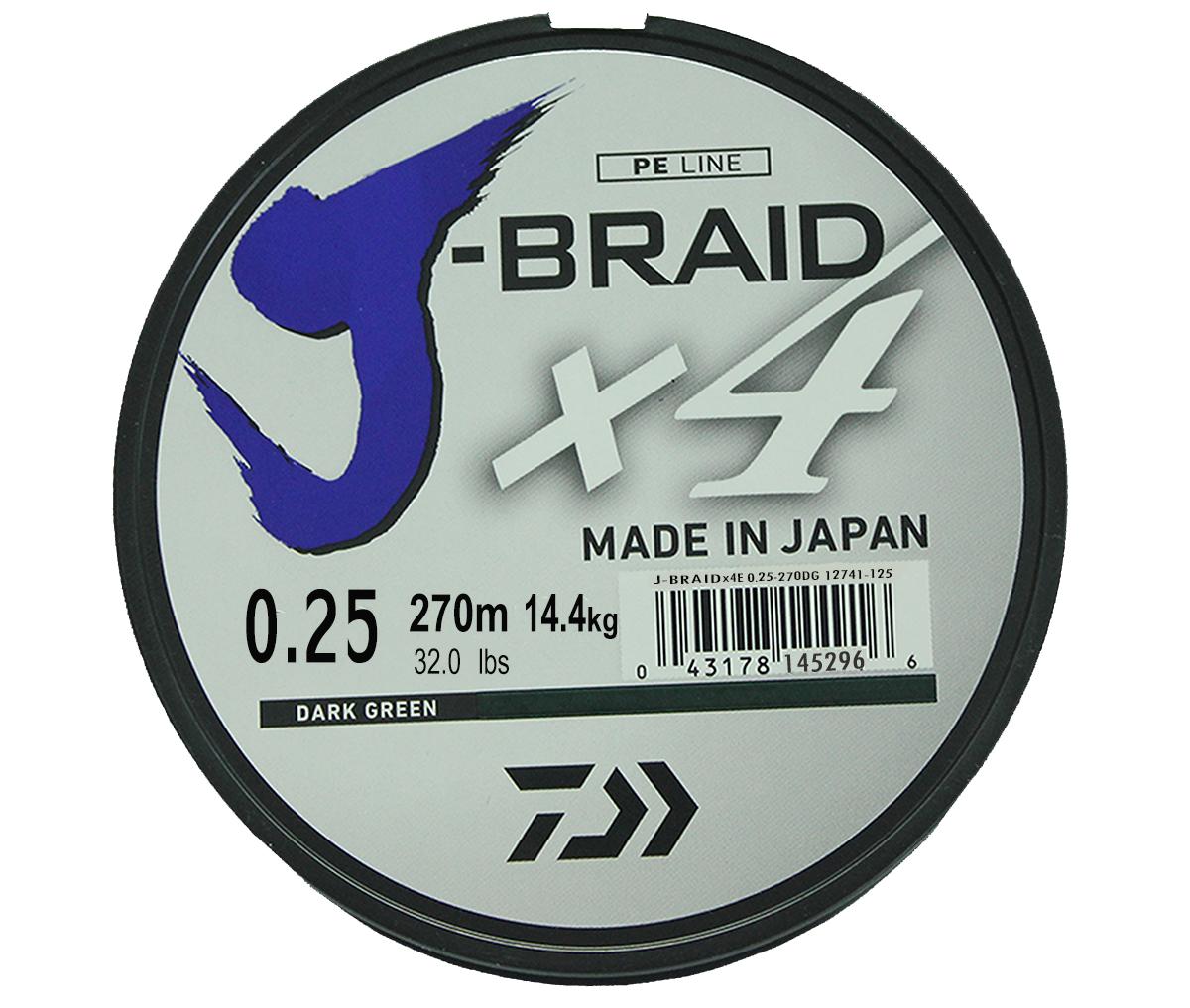 Шнур плетеный Daiwa J-Braid X4, цвет: зеленый, 270 м, 0,25 мм