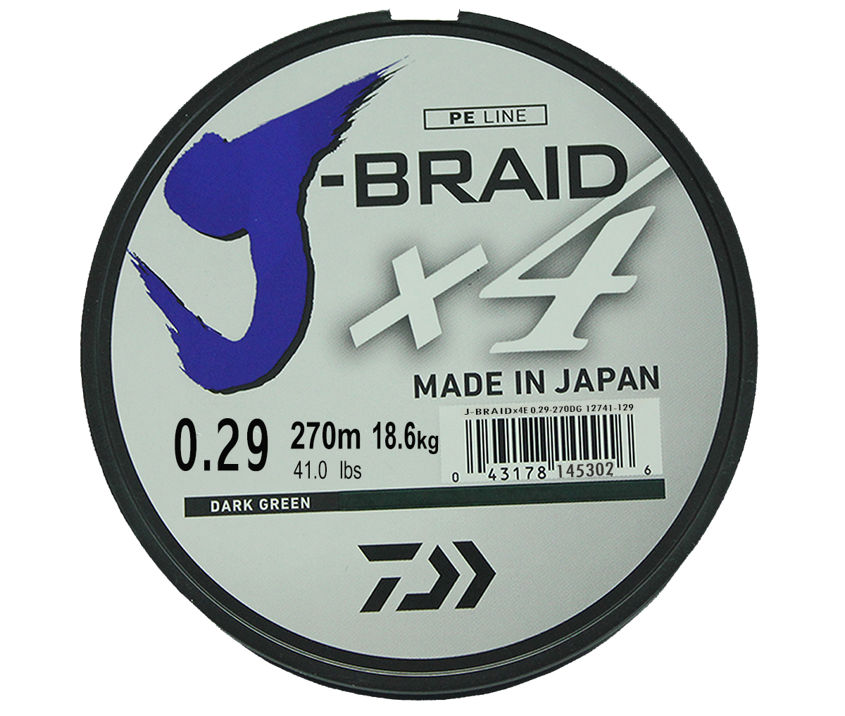 Шнур плетеный Daiwa J-Braid X4, цвет: зеленый, 270 м, 0,29 мм