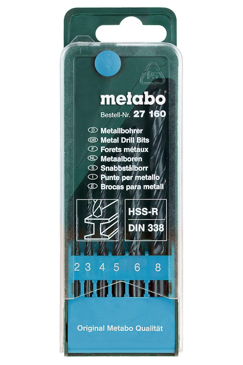 Набор сверл по металлу Metabo HSS-R, 2-8 мм, 6 шт набор сверл metabo hss tin по металлу 1 5 6 5mm 13шт 627176000