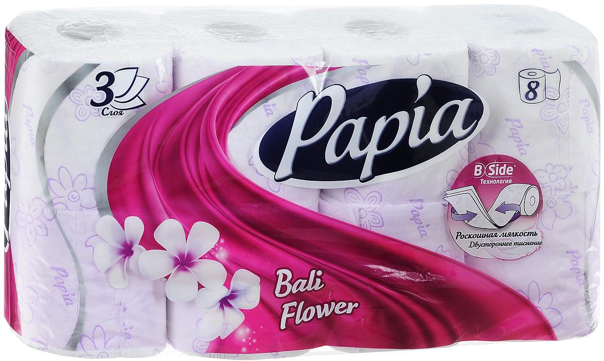 Туалетная бумага Papia Bali Flower ароматизированная, трехслойная, цвет: белый, 8 рулонов туалетная бумага papia vanilla sky ароматизированная трехслойная цвет белый 4 рулона