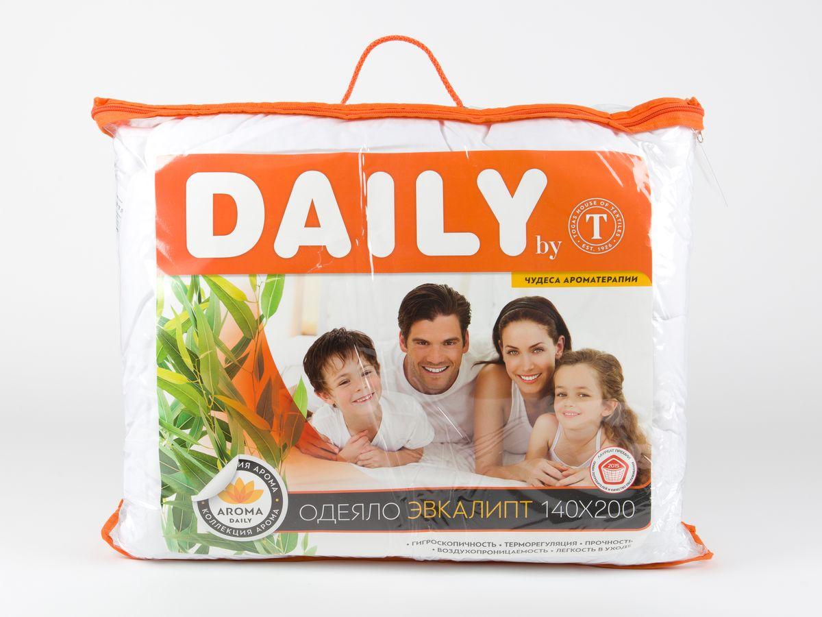Одеяло Daily by T Эвкалипт, наполнитель: полиэфирное волокно, цвет: белый, 140 х 200 см одеяла daily by t одеяло алоэ вера 175х200 см