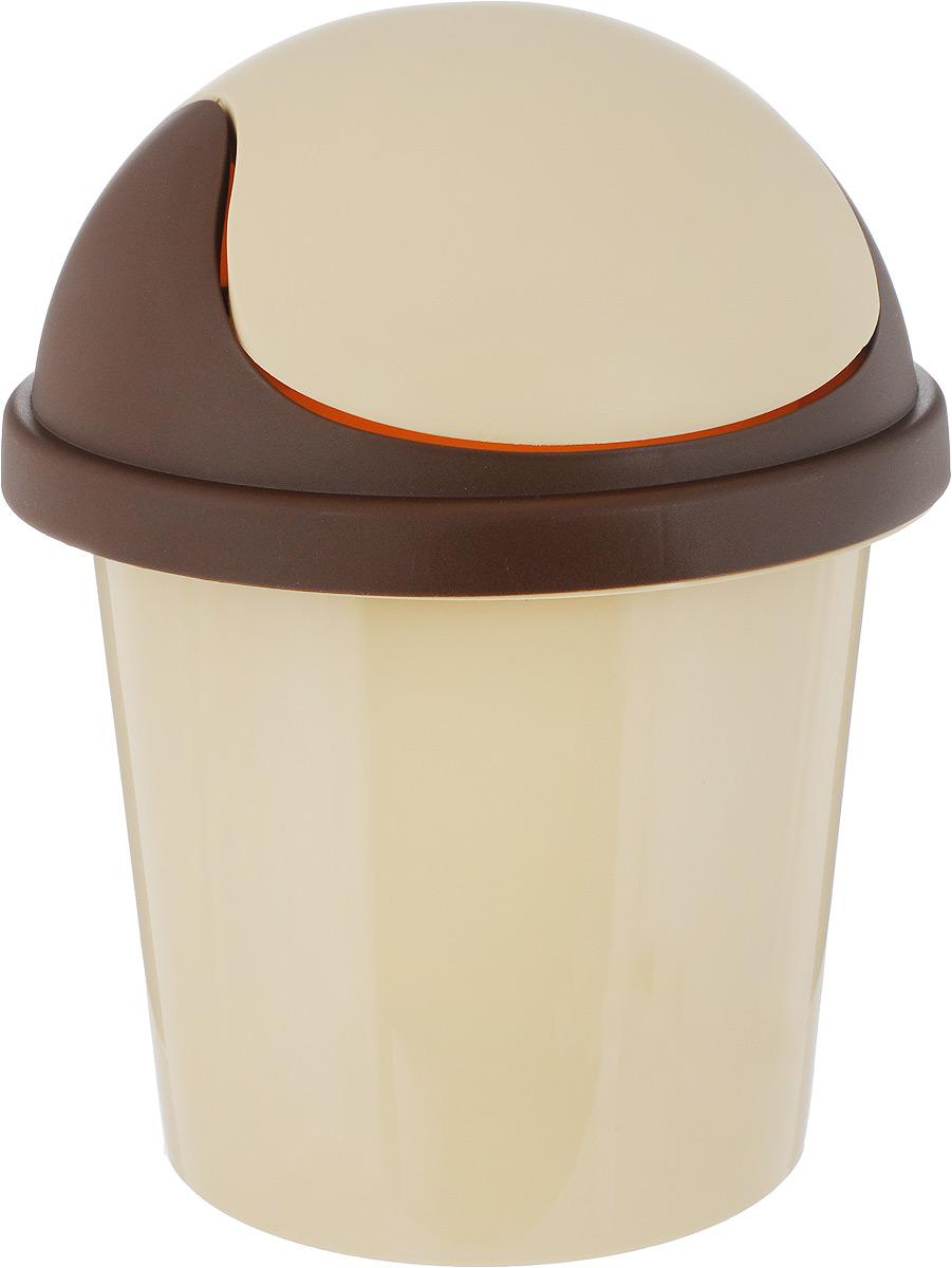 """Контейнер для мусора """"Plastic Centre"""", цвет: бежевый, коричневый, 7 л"""