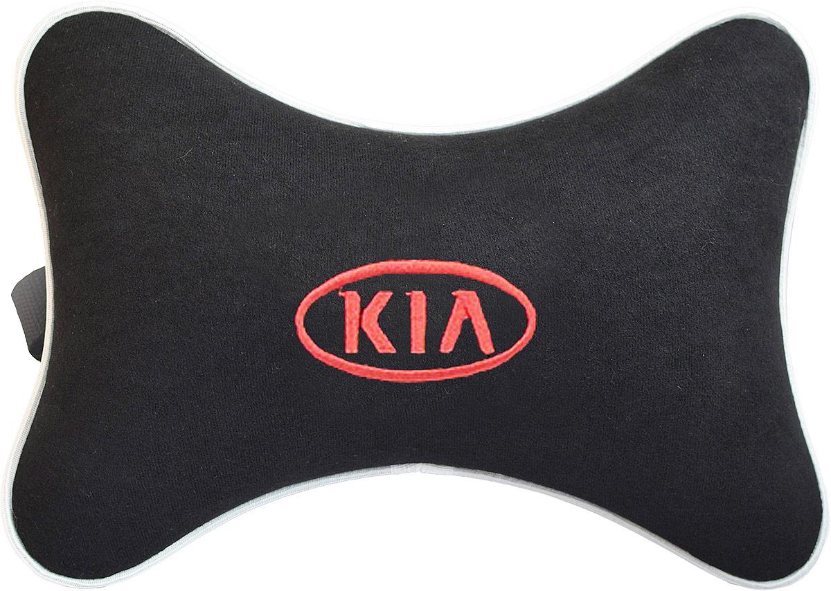 Подушка на подголовник Auto Premium Kia, цвет: черный. 3743137431Подушка на подголовник Auto Premium Kia - это прежде всего лучший способ создать комфорт для шеи и головы во время пребывания в автомобильном кресле. Большинство штатных подголовников устроены так, что до них попросту не дотянуться. Данный аксессуар полностью решает эту проблему, создавая мягкую ортопедическою поддержку. Подушка крепится к сиденью, а это значит один раз поставил - и забыл. Меньше утомляемость - выше внимание и концентрация на дороге. Подушка одинаково удобна для пассажира и водителя. Выполнена из велюра. Рекомендуем!
