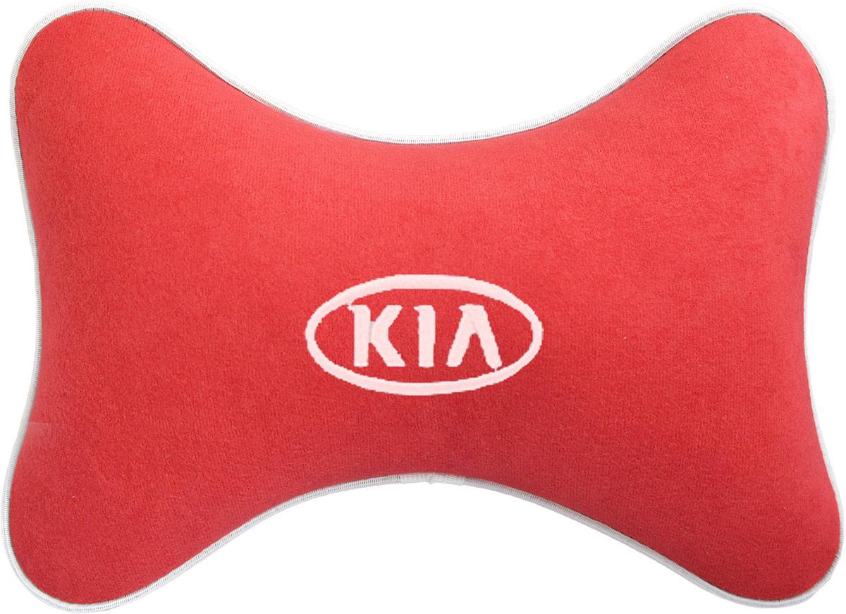 Подушка на подголовник Auto Premium Kia, цвет: красный. 3747137471Подушка на подголовник Auto Premium Kia - это прежде всего лучший способ создать комфорт для шеи и головы во время пребывания в автомобильном кресле. Большинство штатных подголовников устроены так, что до них попросту не дотянуться. Данный аксессуар полностью решает эту проблему, создавая мягкую ортопедическою поддержку. Подушка крепится к сиденью, а это значит один раз поставил - и забыл. Меньше утомляемость - а следовательно выше внимание и концентрация на дороге. Одинакова удобна для пассажира и водителя. Подушка выполнена из велюра.
