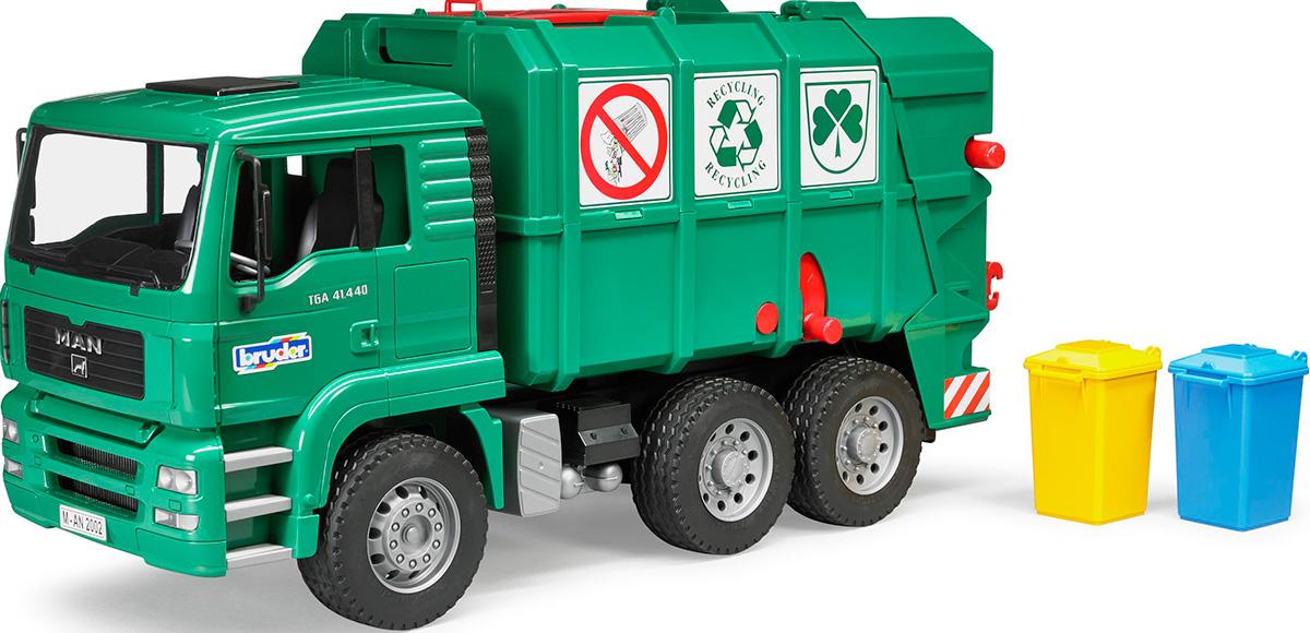 Bruder Мусоровоз MAN TGA цвет зеленый шины для системы сдвоенных колес bruder 03 30
