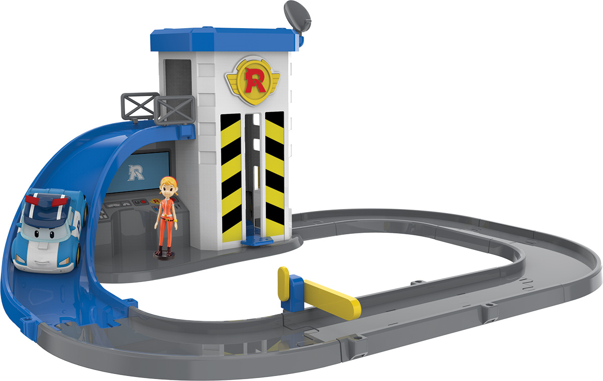 Robocar Poli Игрушечный трек Подъемник с металлической машинкой Поли и фигуркой Джин набор игровой для мальчика poli маленький трек с умной машинкой поли