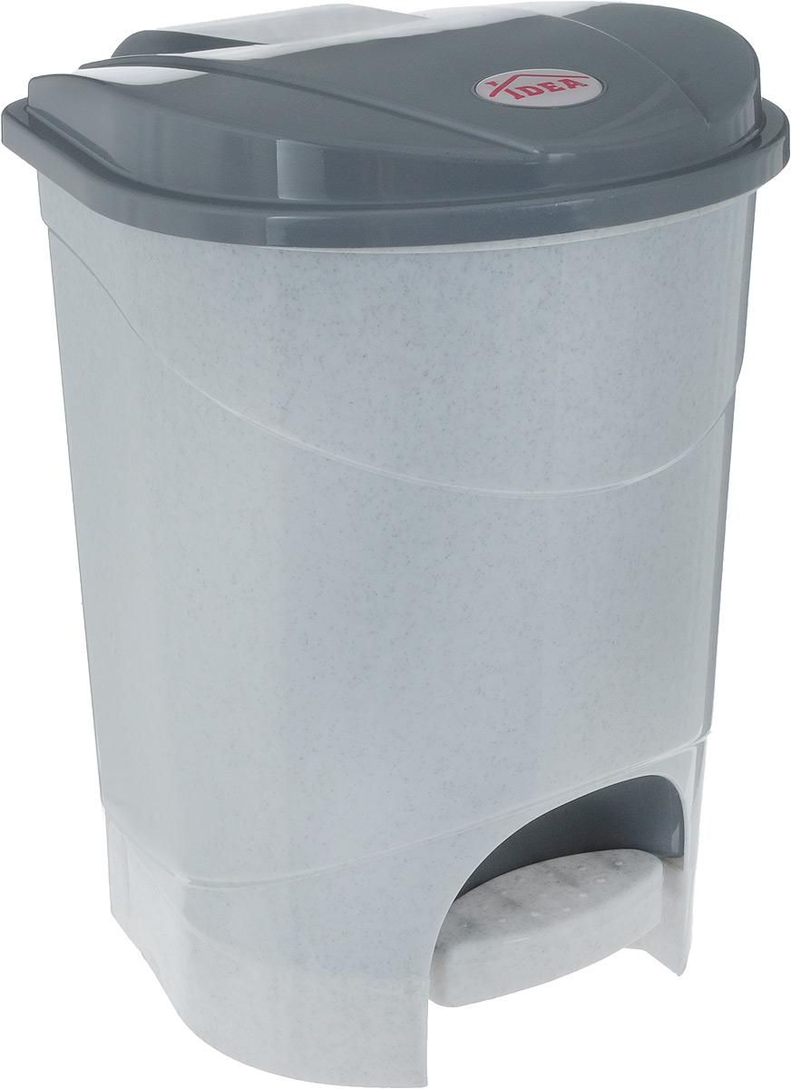 Контейнер для мусора Idea, с педалью, цвет: серый мрамор, 7 л контейнер для мусора idea хапс цвет коричневый мрамор 15 л