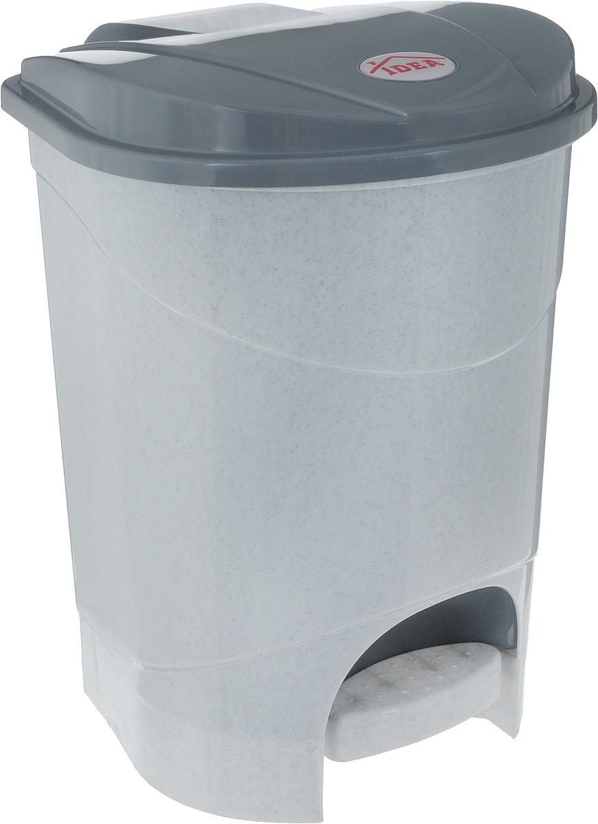 Контейнер для мусора Idea, с педалью, цвет: мраморный, серый, 11 л контейнер для мусора idea свинг цвет белый мрамор 25 л