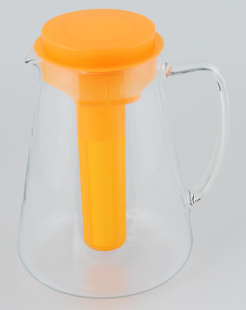 """Кувшин Tescoma """"Teo"""", с крышкой, с ситечком, цвет: прозрачный, оранжевый, 2,5 л"""