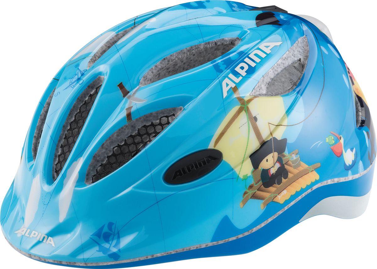 Шлем летний Alpina Gamma 2.0 Flash pirate, цвет: голубой. Размер 51-56 alpina 2016 junior kids ximo flash robot