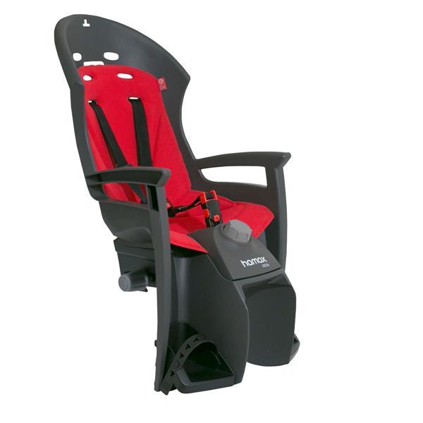 Велокресло детское Hamax Siesta W/Carrier Adapter, на багажник, цвет: черный, красный детское велокресло hamax caress w carrier adapter цвет серый красный
