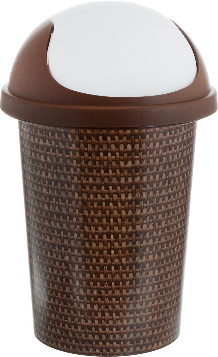 Корзина для мусора Plastic Centre Рогожка, 10 л контейнер для мусора plastic centre цвет бежевый коричневый 7 л