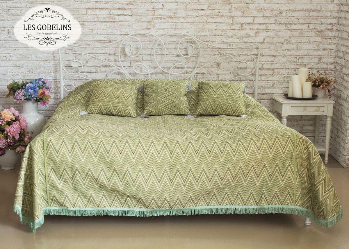 Покрывало на кровать Les Gobelins Zigzag, цвет: зеленый, 240 х 260 см покрывало на кресло les gobelins mexique 50 х 120 см