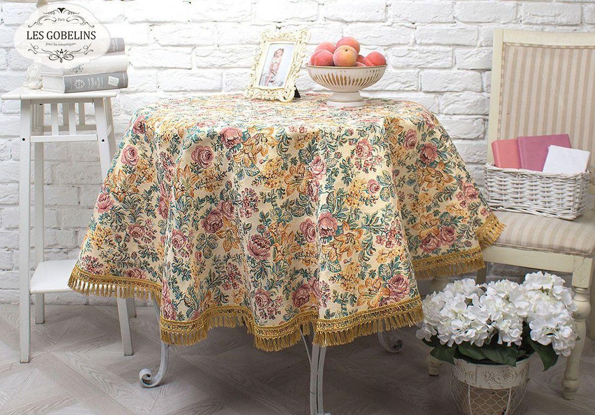 Скатерть Les Gobelins Arrangement De Fleurs, круглая, цвет: коричневый, диаметр 160 см покрывало на кресло les gobelins mexique 50 х 120 см