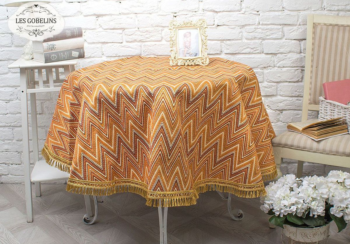 Скатерть Les Gobelins Zigzag, круглая, цвет: оранжевый, диаметр 160 см покрывало на кресло les gobelins mexique 50 х 120 см