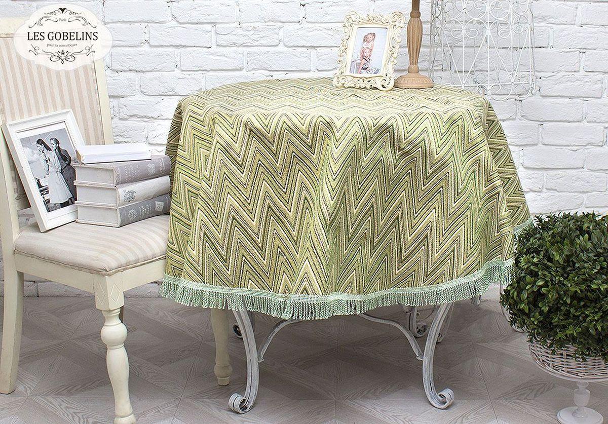 Скатерть Les Gobelins Zigzag, круглая, цвет: зеленый, диаметр 160 см покрывало на кресло les gobelins mexique 50 х 120 см