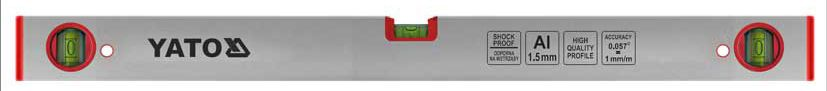 Уровень строительный Yato, 3 капсулы, 600 мм