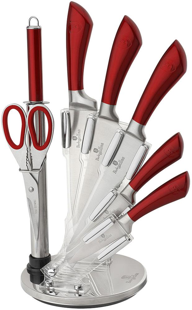 """Набор кухонных ножей Berlinger Haus """"Infinity Line"""", на подставке, цвет: красный, 8 предметов"""