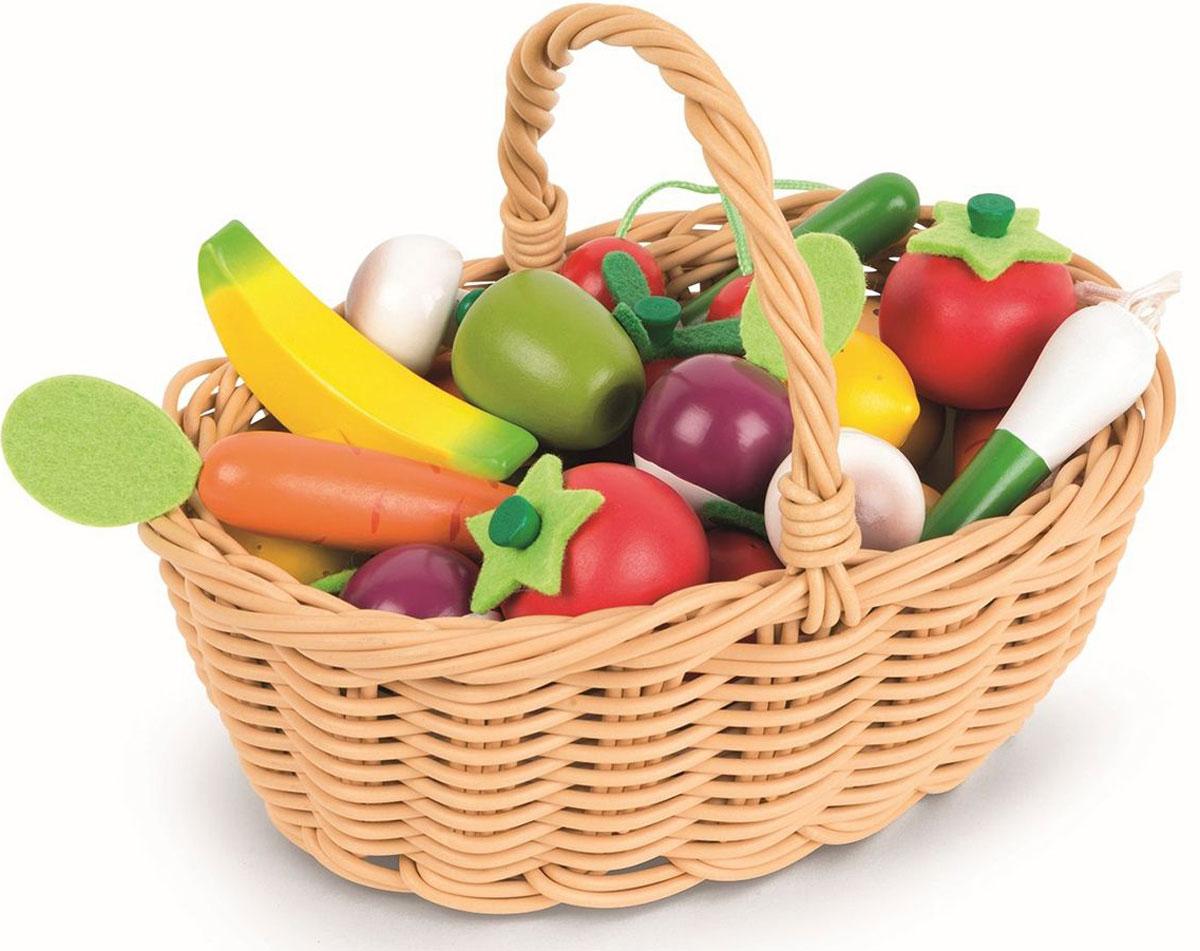 купить Janod Набор овощей и фруктов в корзинке 24 предмета по цене 3794 рублей