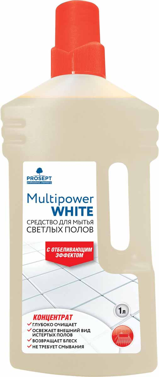 Cредство для мытья светлых полов Prosept Multipower White, с отбеливающим эффектом, концентрат, 1 л концентрат для мытья полов и стен prosept multipower полевые цветы 800 мл