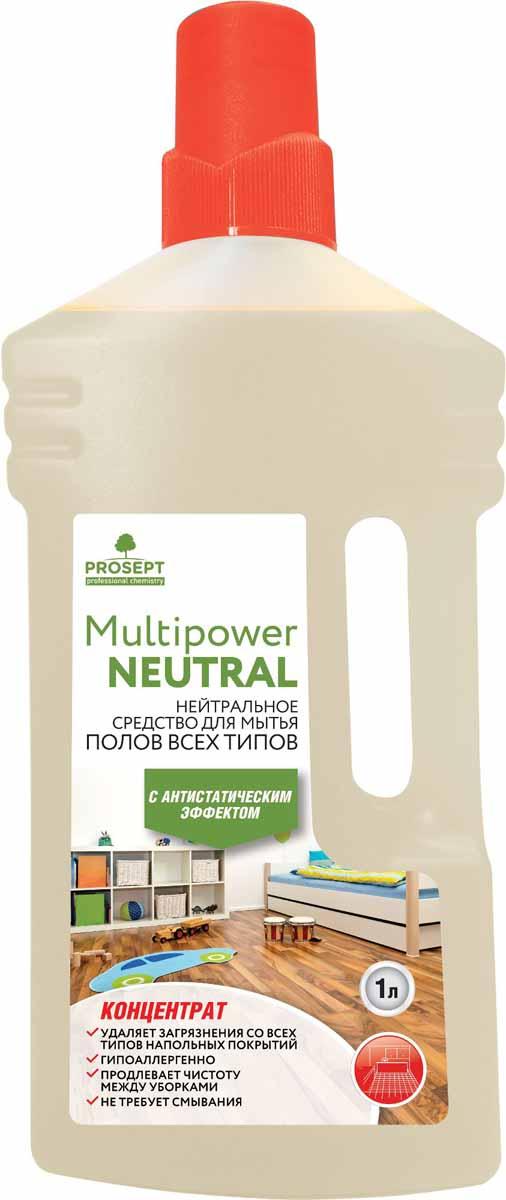 Средство для мытья всех типов полов Prosept Multipower Neutral, концентрат, 1 л концентрат для мытья полов и стен prosept multipower полевые цветы 800 мл