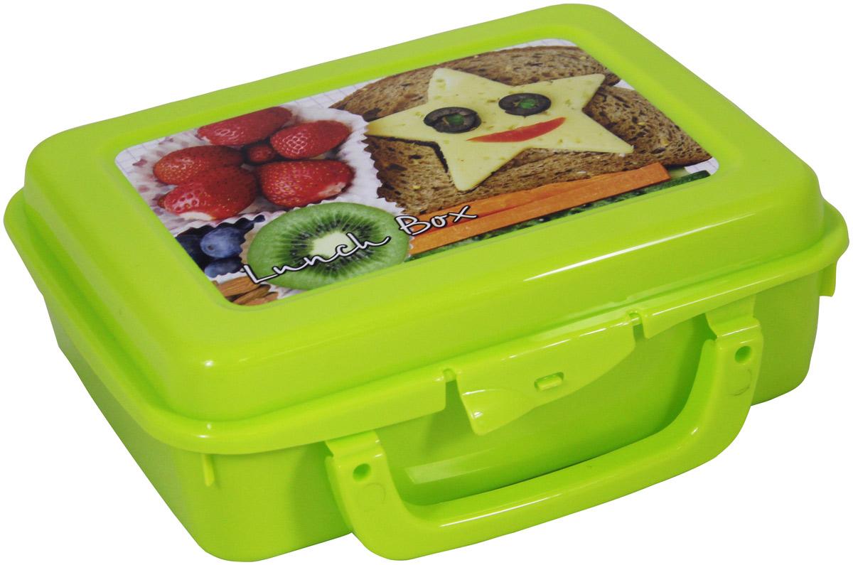 Контейнер пищевой Idea, с ручкой, цвет: салатовый, 20 х 16 х 7 см контейнер для хранения idea прямоугольный цвет салатовый прозрачный 8 5 л