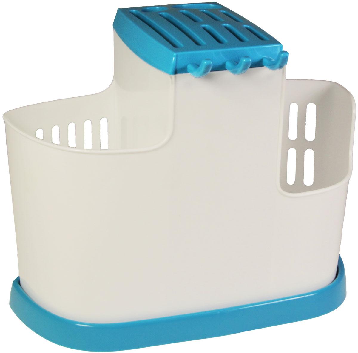 Органайзер кухонный Idea, цвет: бирюзовый, 19 х 25 х 14,5 см органайзер для специй idea цвет белый 6 х 16 х 16 см