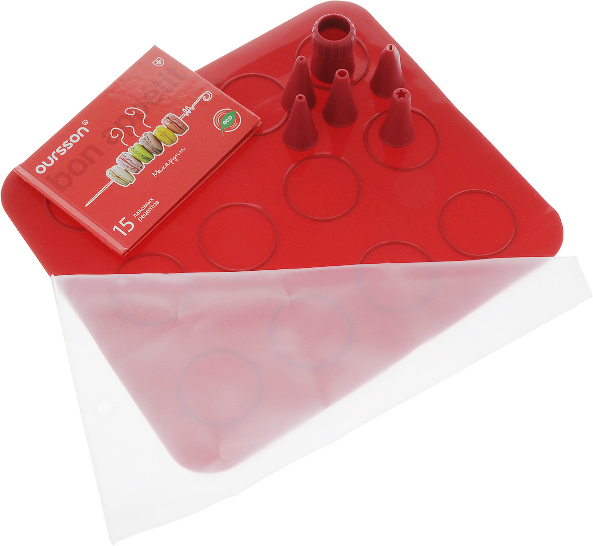 Набор для выпечки макарун Oursson, цвет: красный, 8 предметов набор для выпечки oursson silicone bw3150ss mc