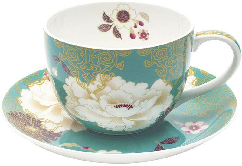 Чашка с блюдцем Maxwell & Williams Кимоно, цвет: бирюза, 250 мл