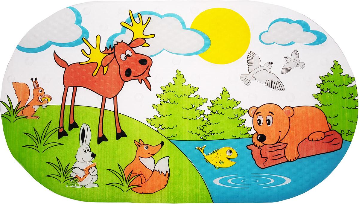 Valiant Коврик для ванной Лесные животные на присосках 69 х 39 см valiant коврик для ванны на присосах противоскольз 69 39 см egypt symbols