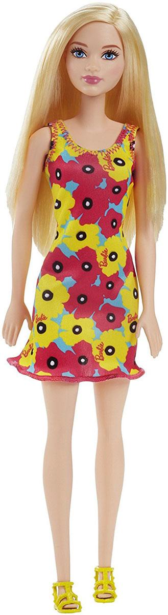 Barbie Кукла цвет платья желтый розовый голубой