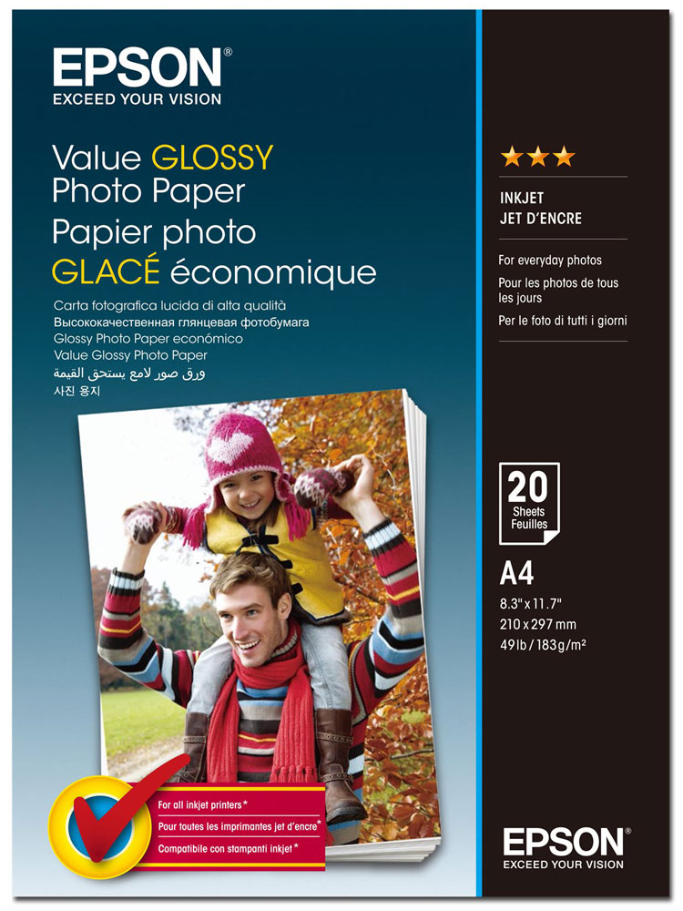 Epson C13S400035 Value Glossy фотобумага A4, 20 листов фотобумага epson value glossy photo paper 10x15 50 листов c13s400038