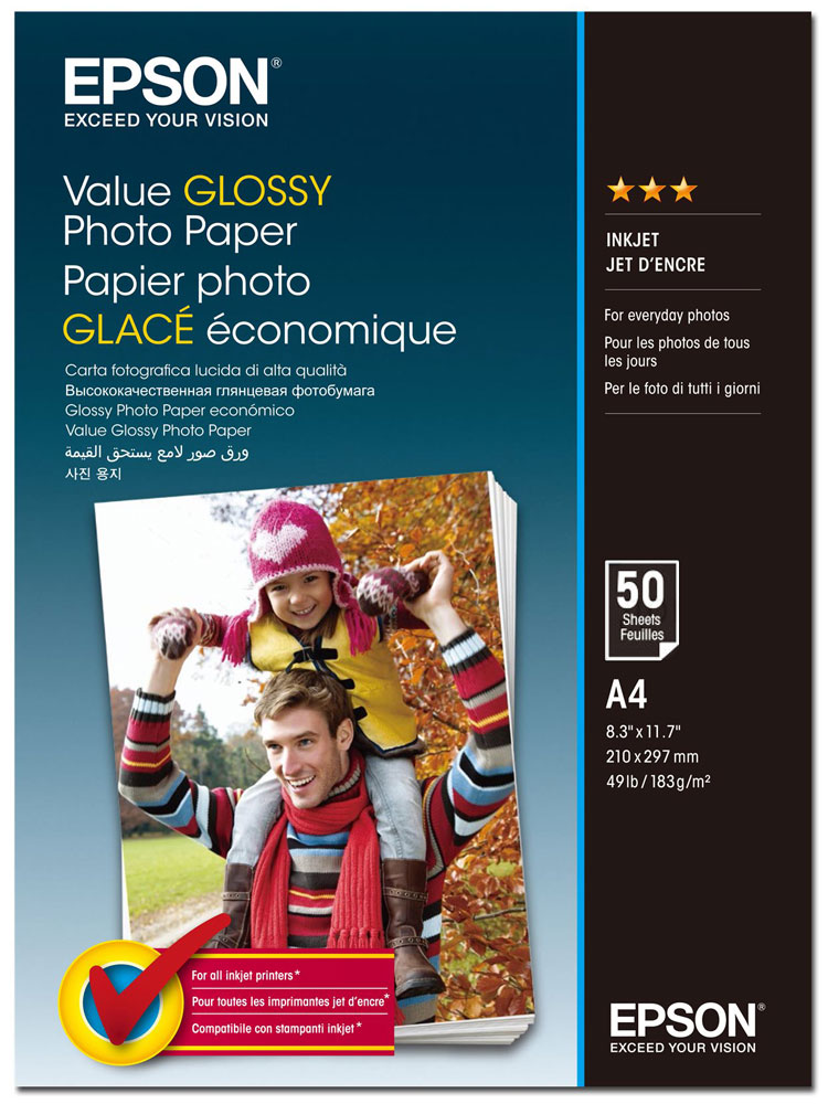 Epson C13S400036 Value Glossy фотобумага A4, 50 листов фотобумага epson value glossy photo paper 10x15 50 листов c13s400038