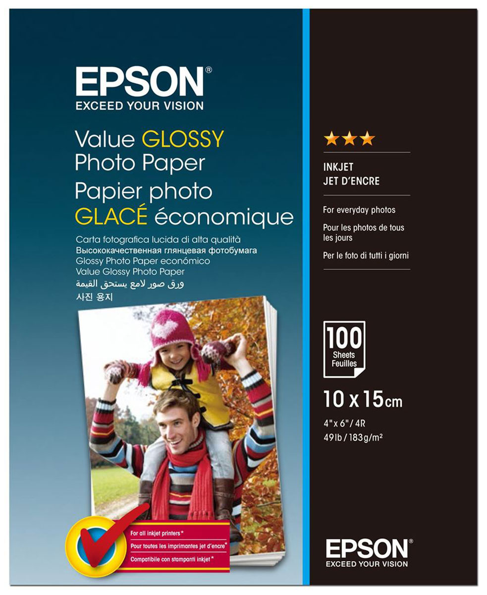Epson C13S400039 Value Glossy фотобумага 10x15, 100 листов фотобумага epson value glossy photo paper 10x15 50 листов c13s400038