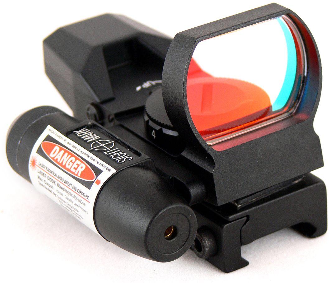 Прицел коллиматорный Sightmark, SM13002, панорамный с ЛЦУ на Weaver, со сменной маркойSM13002Коллиматор Sightmark панорамный с ЛЦУ на Weaver, марка - сменная 4 вида, подсветка красная. Компания Sightmark, США,Техас, Мэнсфилд впервые представила свою продукцию в 2007 году на SHOT Show. Основной целью компании является разработка и производство современной оптики и аксессуаров для охотников, спортсменов и стрелков. Кроме того, каждый продукт разработан для специализированного рынка, позволяя стрелкам получить больше высококачественных изделий для их огнестрельного оружия и пистолетов. Все коллиматорные прицелы Sightmark разработаны для ружей, винтовок и пистолетов. Коллиматорный прицел SM13002 интегрирован с лазерным целеуказателем. ЛЦУ крепится к коллиматору двумя винтами. Регулировка яркости прицельной марки выполняется восьмиступенчатым переключателем, который совмещен с батарейным отсеком. Имеет 4 типа прицельной марки, 7 режимов яркости прицельной марки. Линза объектива закрывается мягкой резиновой крышкой, которая защищает от загрязнений и механических повреждений. Противоударный и защищенный от непогоды. Все компоненты коллиматорного прицела, подверженные механическому воздействию, выполнены из нержавеющей стали и анодированных алюминиевых сплавов. Миниатюрные размеры делают его идеально подходящим для использования с пистолетами и ружьями, которые могут использоваться для стрельбы по мишеням (спортинг) или охоты по движущимся целям. Идеально подходит для стрельбы на вскидку и по быстро движущимся целям. Тип: панорамный Увеличение (х): 1 Прицельная марка: сменна...
