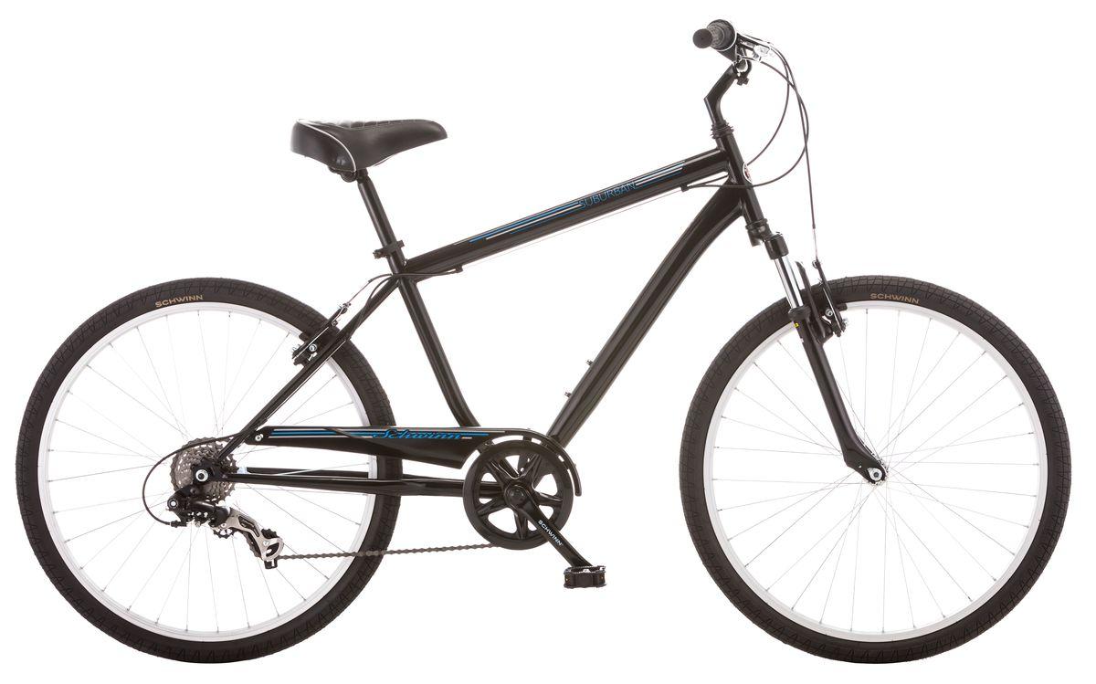 Велосипед городской Schwinn Suburban Men, колеса 26, рама 18, цвет: черный, 7 скоростей вилка амортизационная suntour гидравлическая для велосипедов 26 ход 100 120мм sf14 xcr32 rl 26