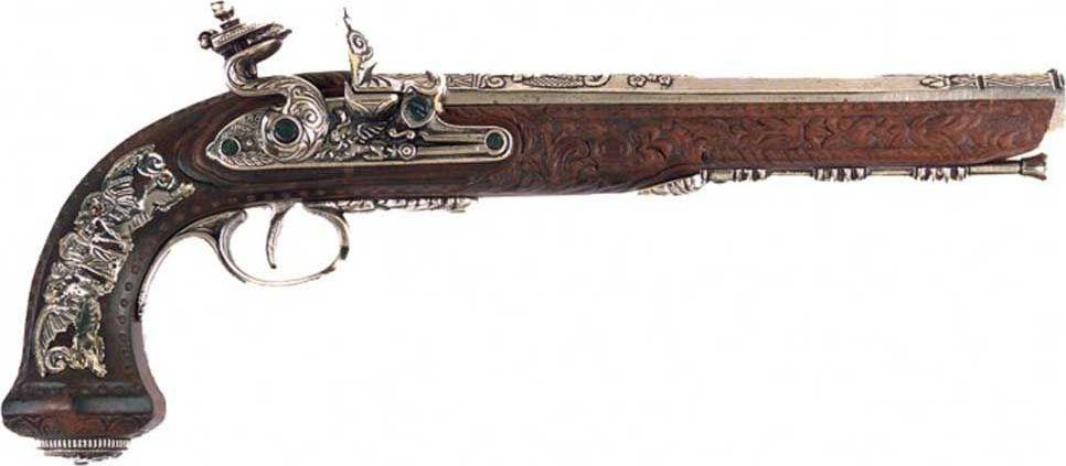 Пистолет дуэльный. Оружейная реплика. Произведен мастером Буте, 1810 год, никель