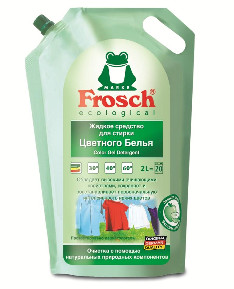 """Жидкое средство для стирки """"Frosch"""", для цветного белья, 2 л"""