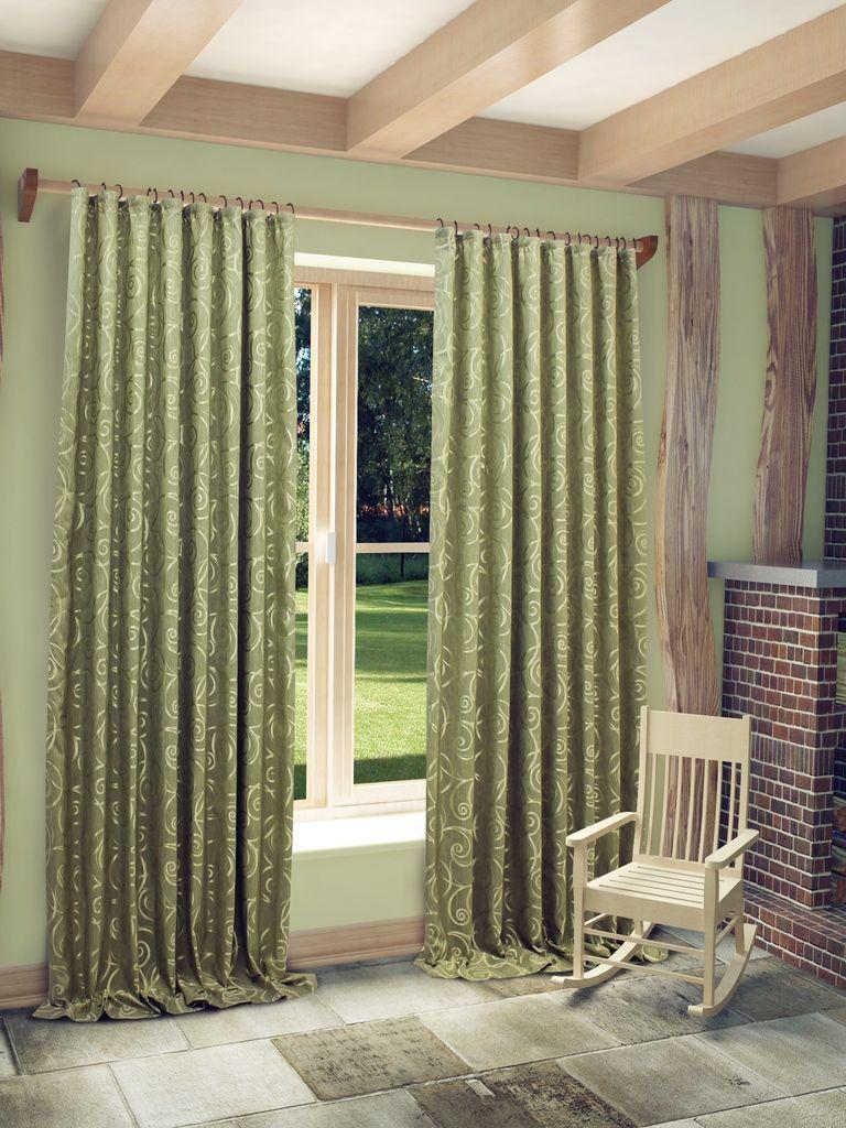 Штора Sanpa Home Collection Розан, на ленте, цвет: зеленый, высота 280 см штора sanpa home collection розан на ленте цвет зеленый высота 280 см