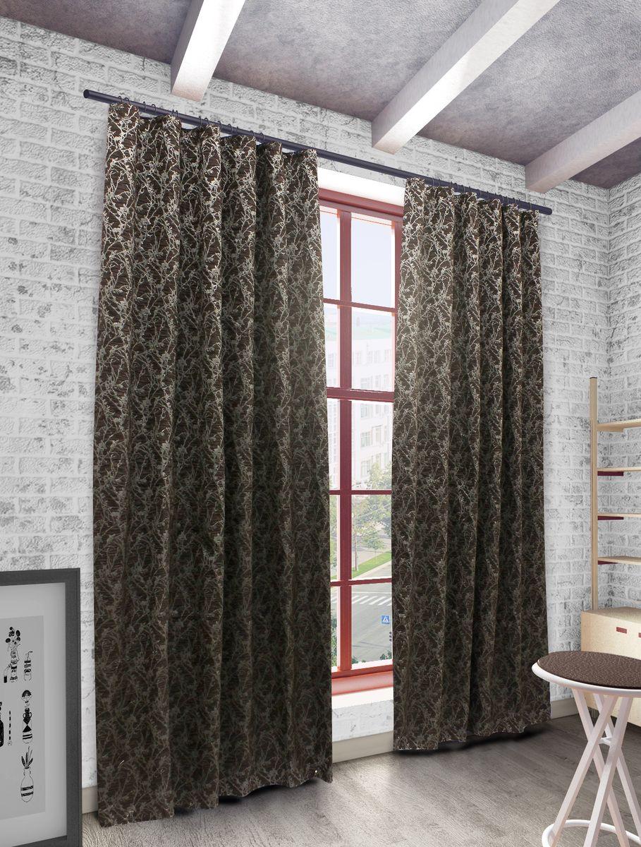 Штора Sanpa Home Collection Ванесса, на ленте, цвет: темно-коричневый, высота 270 см штора sanpa home collection герда на ленте цвет розовый высота 280 см