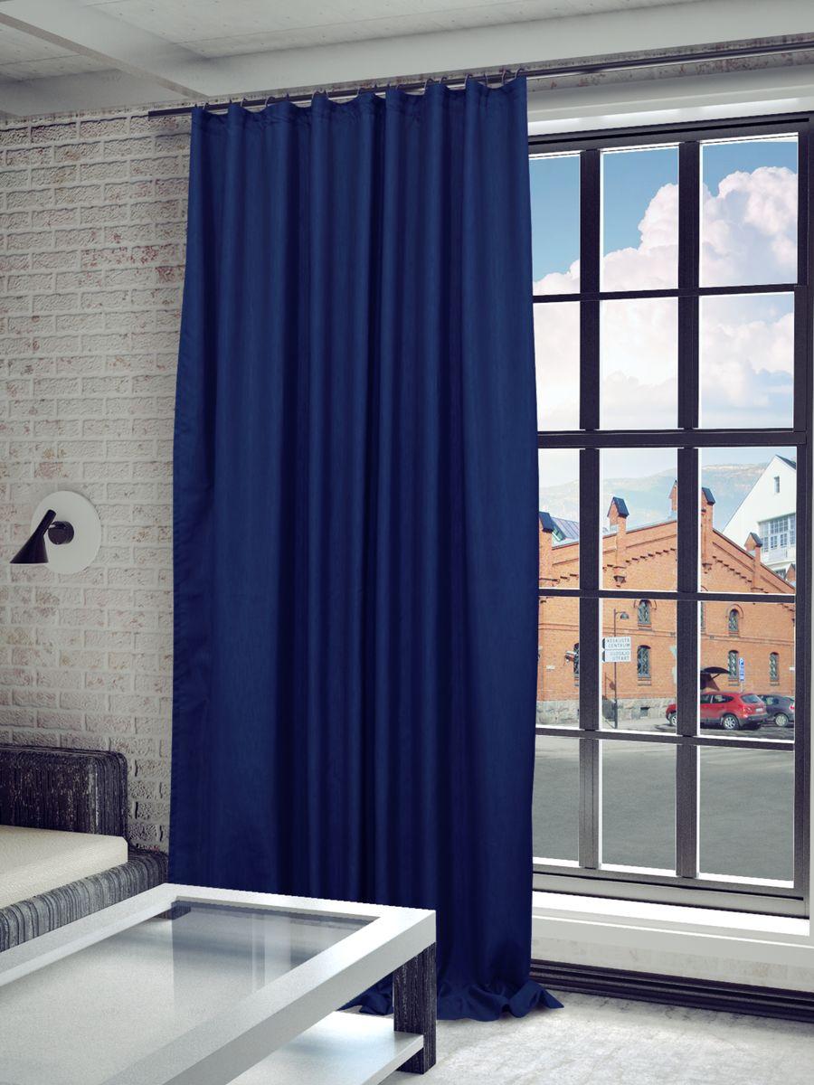 Штора Sanpa Home Collection Агнес, на ленте, цвет: синий, высота 280 см штора sanpa home collection штора sanpa home collection агнес hp8120 128 1e агнес медный медный 200 280 hp8120 128 1e агнес медный медь