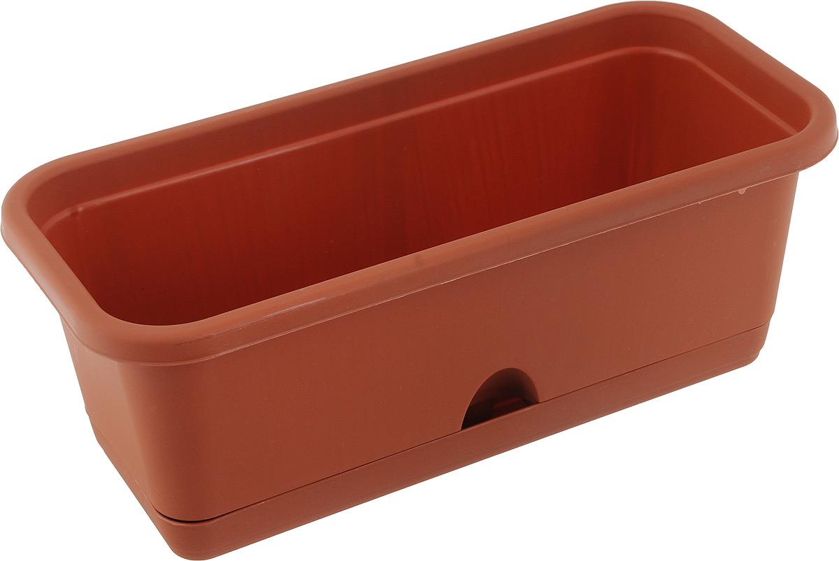 Балконный ящик Idea, с поддоном, цвет: коричневый, 40 х 18 х 16 см цена