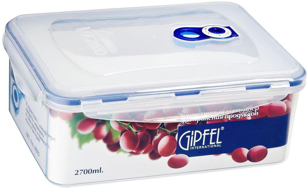 Контейнер пищевой Gipfel, 2,7 л4535Контейнер Gipfel, изготовленный из высококачественного пищевого пластика, предназначен для сохранения свежести, аромата, цвета и питательных веществ любых продуктов питания. Контейнер может использоваться для маринования и для хранения продуктов в холодильнике и морозилке. Хранение продуктов в вакуумных контейнерах не заменяет обычных способов хранения, а дополняет их, ведь таким образом срок хранения увеличивается в 3-4 раза. Вакуум, образованный путем удаления воздуха из посуды, приостанавливает размножение бактерий и окисление продуктов. Так, сроки хранения в холодильнике (при температуре от 3°С до 5°С) возрастают (приблизительно): для мяса - с 3 до 10 дней, для сыра - с 12 до 25 дней, для овощей - с 4 до 8 дней, для хлеба - с 2 до 10 дней, для пирожных - с 4 до 10 дней.